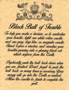 Rid Yourself of Trouble, Book of Shadows Spell Page, Wicca, Witchcraft, Charmed