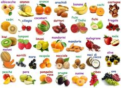Learn Italian fruit names! [Best way to learn words is NOT to translate, but to let your brain associate an object to its Italian name]. Italian Grammar, Italian Vocabulary, Italian Words, Italian Language, Spanish English, Learn English, Italian Online, Italian Lessons, Learn A New Language