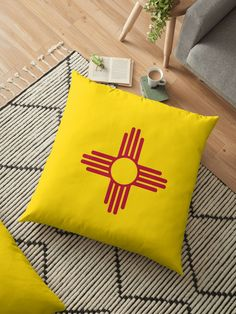 New Mexico Patriotic State Flag. • Millions of unique designs by independent artists. Find your thing. Throw Pillows Bed, Bed Throws, Floor Pillows, Decorative Throw Pillows, Cushion Covers, Pillow Covers, New Mexico Flag, Wall Tapestry, Flooring