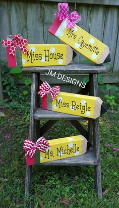 Personalized giant pencil teacher desk name plate by JMDesigns362