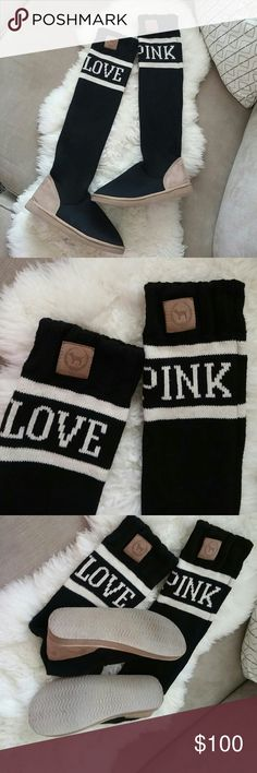 VS pink mukluks In excellent condition worn inside the house black with white these are gone fast during fall and winter time for over 200.. Size m fits like 8.5 to 9 in womens PINK Victoria's Secret Shoes Over the Knee Boots