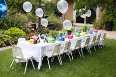 Kids Table from a Two-A-Saurus Dinosaur Garden Party via Kara's Party Ideas | KarasPartyIdeas.com | The Place for All Things Party! (11)