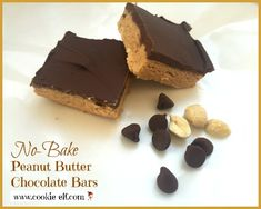 No Bake Peanut Butter Chocolate Cookies: ingredients, directions, and a special tip from The Elf to make yummy Peanut Butter Chocolate No-Bake Bar Cookies. Easy No Bake Cookies, No Bake Treats, No Bake Desserts, Chocolate Peanut Butter Cookies, Peanut Butter Bars, Brownie Recipes, Cookie Recipes, Rice Krispy Treats Recipe, No Bake Bars