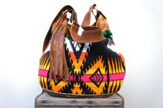 Last One///Agatha in Tribal Oregon Wool with Brown Leather and Adjustable Strap
