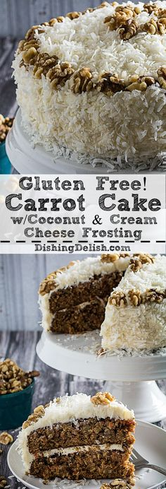 This Gluten Free Carrot Cake with Coconut & Cream Cheese Frosting is sweet, moist, and the perfect dessert to serve your guests! Sweet pineapple and coconut flakes combined with the traditional shredded carrots, walnuts, and sugar just bring this cake to a whole new level of delicious.