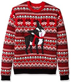 Blizzard Bay Men's Dopey Dog Boston Terrier Knit Ugly Christmas Sweater