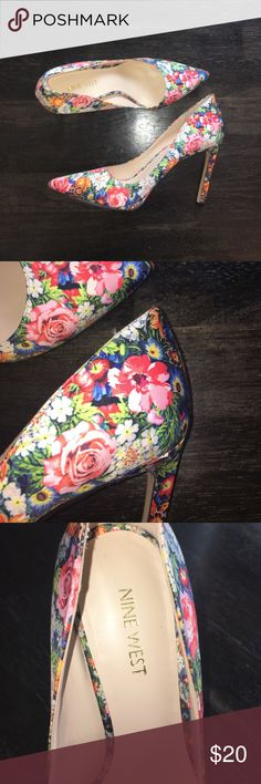 """Nine West Floral Pumps Super flirty! In great condition worn only once about 4"""" heel Nine West Shoes Heels"""
