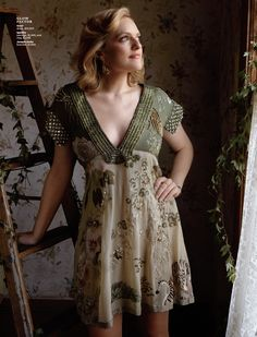 """Mad Men"" star Elisabeth Moss shines in Los Angeles magazine fashion feature photographed by Annabel Mehran Peggy Olson, Elizabeth Moss, Mad Men Fashion, Kids Fashion, Spring 2015 Fashion, British Actors, Girl Power, Fashion Dresses, Short Sleeve Dresses"