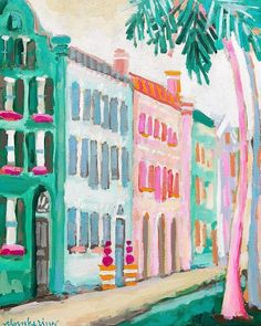 "Hot Pink Topiaries, 16""x20""  // available January 30 on cbrookering.com // charleston rainbow row contemporary impressionism painting // colorful decor"