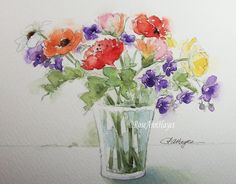 This is an original watercolor painting of a bouquet of garden flowers in a glass vase. This was painted on archival quality watercolor paper using