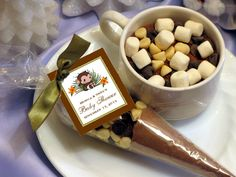 LIL MONKEY jungle safari baby shower hot cocoa cones favors. $2.99, via Etsy.