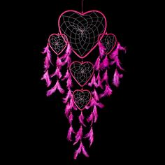 """Dream Catcher ~ Handmade Hot Pink Heart Shape with Silver String 24"""" Long – <3 CaughtDreams.com <3"""