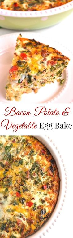 Bacon, Potato and Vegetable Egg Bake is simple to make and is full of flavor for a delicious and satisfying breakfast or brunch that your whole family will love! www.nutritionistreviews.com #eggs #breakfast #casserole #eggbake #mealprep #makeahead #healthy #food #recipe