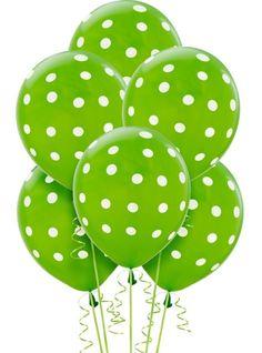 Latex Kiwi Polka Dots Printed Balloons 12in 6ct - Party City