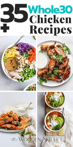Whole30 Chicken Recipes – an endless list of Whole30 compliant chicken recipes to fill up your weekly menu!! Start meal-planning! These Whole30 Chicken Recipes are all SO GOOD! Whole30 Chicken Recipes As much as we like to mix up our weekly menus, chicken is still the most popular protein on our weekly menu! #Whole30ChickenRecipes #Whole30Dinner #TheWoodenSkillet Whole 30 Chicken Recipes, Healthy Chicken Pot Pie, Yummy Chicken Recipes, Pork Recipes, Real Food Recipes, Healthy Recipes, Greek Chicken Salad, Chicken Salad With Apples, Greek Lemon Chicken