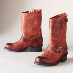 """ENGINEER BOOTS--With these Frye® leather engineer boots, the esteemed shoemaker breathes new life into a Sundance favorite. Rich, ruby-toned leather is hand burnished. Classic brass-buckled straps are a nod to the past. USA. Whole and half sizes 6 to 10, 11. 1-3/4"""" heel.View our entire Frye Collection"""
