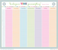 Great printable to organize you time from   iheartorganizing.blogspot.com
