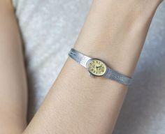 Cocktail watch silver women's wrist watch sleek oval by SovietEra