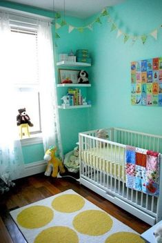 aqua and yellow nursery