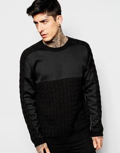 Image 1 of ASOS Cable Jumper with Sweat Panel