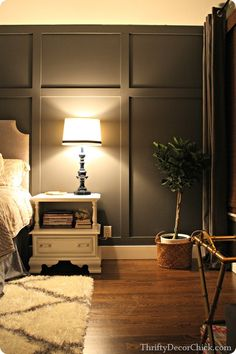 to Create a Board and Batten Accent Wall Adding a dark gray accent wall and board and batten to the master bedroom creates something amazing.Adding a dark gray accent wall and board and batten to the master bedroom creates something amazing. Home Bedroom, Bedroom Decor, Master Bedrooms, Bedroom Ideas, Bed Room Wall Ideas, Bare Wall Ideas, Diy Feature Wall Ideas, Bed Wall, Bedroom Office