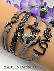 Womens Charm Bracelet Infinity Love Anchor Grey Velvet Black Leather Braid K787