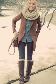 layers. denim. button-down. jeans. coat. scarf. boots. Winter.