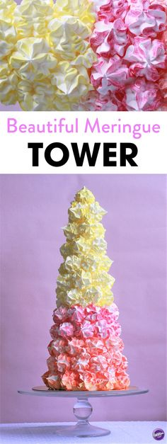 How to Make a Beautiful Meringue Tower - Create the most eye catching showstopper at your wedding banquet, and it really couldn't be easier with the help of the Wilton's Marvelous Meringue Mix. Try customizing your colours to match your party or wedding theme or try changing your tip for a different shape meringue. One thing is for sure, everyone is going to be talking about this beautiful tower of sweetness.