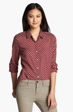 Halogen® Roll Sleeve Shirt (Regular & Petite)   Nordstrom (LOVE the color and print of this shirt - can be worn with jeans or pants at the office)