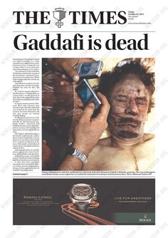 This Australian daily chose to put a huge picture of Libyans taking pictures of Gaddafi's corpse with their cell phones...