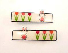 2 Handmade Easter Rabbit or Bunny Hair Clips by buttonsbyrobin