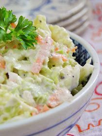 Chinese cabbage salad with horseradish sauce Czech Recipes, Raw Food Recipes, Salad Recipes, Cooking Recipes, Healthy Recipes, Ethnic Recipes, Healthy Cooking, Healthy Eating, Good Food