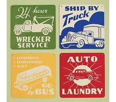 Kids' Posters, Prints & Art: Kids Vintage Transportation Wall Art Signs $65 for 4 @ Land of Nod