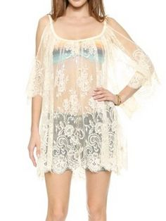White Cold Shoulder Flare Sleeve Sheer Lace Beach Dress-top | Choies