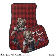 Harley Quinn With Fuzzy Dice - Car Floor Mats and Automobile Accessories