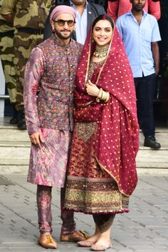 Power couple Deepika Padukone and Ranveer Singh celebrated one year of their togetherness yesterday.To embark Indian Men Fashion, Indian Bridal Fashion, Indian Fashion Dresses, Fashion Outfits, Ethnic Outfits, India Fashion, Wedding Dresses Men Indian, Indian Bridal Outfits, Pakistani Dresses