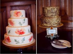 The next trends in cakes? Hand painted cake and metallic cake.    Photo by Kristen Booth