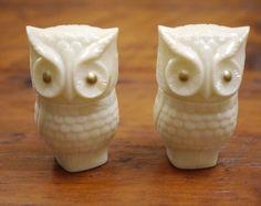 Pair Vintage Avon Milk Glass OWL Cologne Moonwind Cream Sachet Perfume Bottles  | eBay