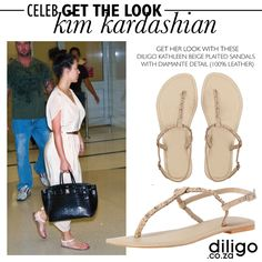 CELEB GET THE LOOK: KIM KARDASHIAN Plaits, Get The Look, Kim Kardashian, Celebs, Beige, Sandals, Leather, Fashion Design, Collection
