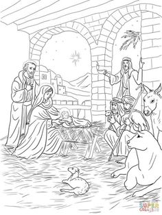 Shepherds Come to See Baby Jesus coloring page from Jesus Nativity category. Nativity Coloring Pages, Jesus Coloring Pages, Christmas Coloring Pages, Animal Coloring Pages, Free Printable Coloring Pages, Coloring Book Pages, Coloring Pages For Kids, Coloring Sheets, Christmas Colors