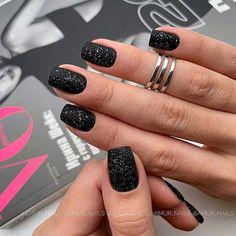 Nails black 43 Pretty Nail Art Designs for Short Acrylic Nails Glittery, Matte Black Acrylic Nails Square Nail Designs, Black Nail Designs, Short Nail Designs, Acrylic Nail Designs, Acrylic Art, Latest Nail Designs, Fall Nail Art Designs, Trendy Nails, Cute Nails