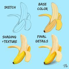 Join Art with Flo on Patreon to get access to this post and more benefits. Digital Painting Tutorials, Digital Art Tutorial, Art Tutorials, Banana Sketch, Digital Art Beginner, Fruit Nail Art, Banana Art, Graphic Design Tools, Drawing For Beginners