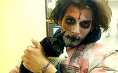 Zombie Saves Terrified Times Square Cat-Disaster was reunited with his family thanks to guy who was dressed for his job! He saved this kitty's life!