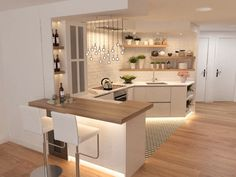 178 best farmhouse kitchen design ideas to bring classic look- page 5 Kitchen Sets, Home Decor Kitchen, Kitchen Furniture, Home Kitchens, Kitchen Colors, Neutral Kitchen, Open Kitchen, Kitchen Bar Design, Interior Design Kitchen