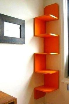 Corner bookshelf-cool bookshelf just not the color
