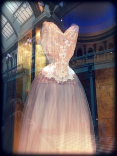 Oyster Pink silk duchess corset, with French couture lace and tulle skirts. Pale, muted, romantic colours, giving satin a gentler effect.     In the window of the Sparklewren boutique.