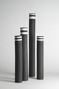 Striking black and white Kose Milano different height ceramics grouped together for fabulous effect.