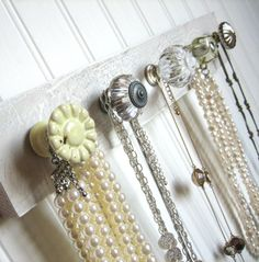 Dorm Room Jewlery Organizer / Knob Rack in Yellow and Gray on Etsy, $32.00