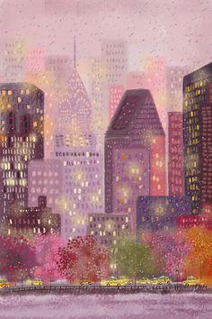 Seasons of New York City City Painting, Painting Abstract, Acrylic Paintings, Abstract Portrait, City Illustration, Pretty Art, Aesthetic Art, Art Inspo, Folk Art