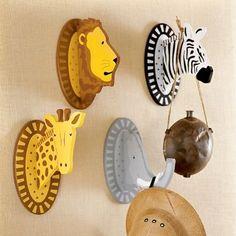 Safari Animals Wall Hooks Kids Decorating Ideas